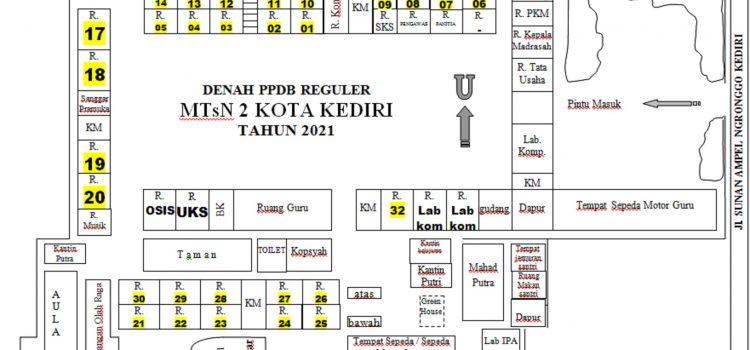 Pembagian Ruang dan Denah Ruang Tes PPDB Regular MTsN 2 Kota Kediri 2021/2022