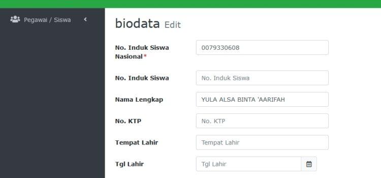 Tautan Pengisian Biodata Siswa Baru 2021/2022